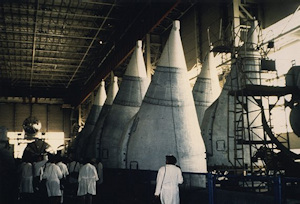Inside the assembly building for the Energia Rocket, Baikonour, July 1992