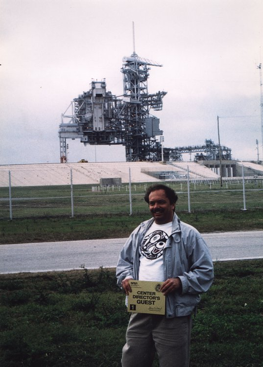 Ken Harman in front of Pad 39B (Space Shuttle) at the Kennedy Space Center, March 1993