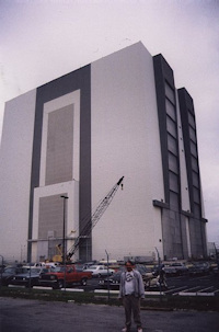 Vehicle Assembly Building (VAB) with Ken Harman in front
